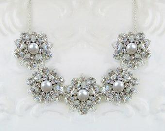 Wedding Necklace, Pearl Bridal Statement, wedding jewelry, Bridal necklace, Statement Jewelry, Pearl wedding necklace, silver bridal jewelry