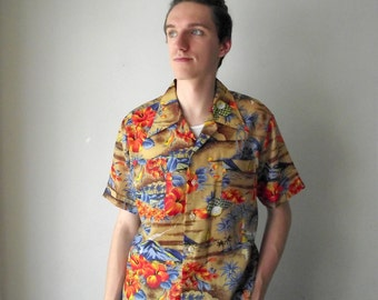 Men's Hawaiian Shirt 1960s 1970s Luau Summer Hawaii Vacation XL
