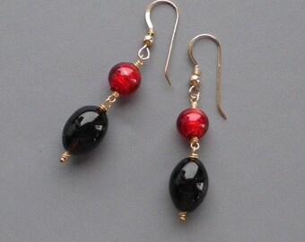 Smoky Quartz Red Murano Gold Earrings Gemstone Handmade Glass