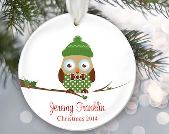 Personalized Owl Christmas Ornament Owl Ornament Christmas Gift Custom Ornament Holiday Gift Choice of 6 owls Boy Kid or Girl Child OR257
