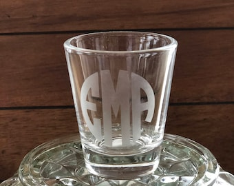 Etched Monogram Shot Glass - Custom Shot Glass - Personalized Shot Glass - Sorority Gift - Bachelorette Party Favor - Bridal Party Gift