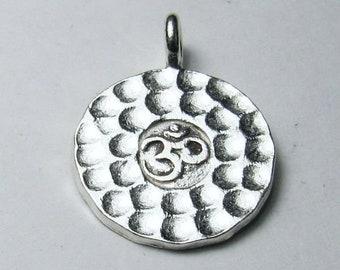 16mm Hammered OM Yoga Pendant Karen Hill Tribe Fine Silver HT-266