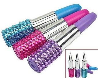 Lipsick Pens, Novelty Lipstick Pens, Makeup Artist Gift, Makeup Pens, Office Supplies, Ballpoint Pens, Funny Pens, Womans Pen, Lipstick Pens