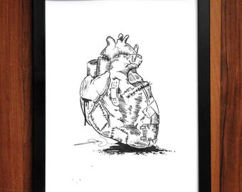 Broken Heart Art Print, home decor, artwork, pen and ink, print