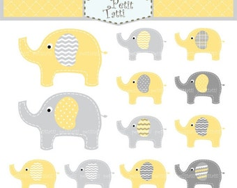 ON SALE elephant clip art - Digital clip art, cute elephant, yellow and grey elephant, instant download clip art