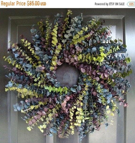 SUMMER WREATH SALE Eucalyptus Wreath- Summer Cool Eucalyptus Wreath- 20 inch Dried Floral Wreath- Floral Arrangement