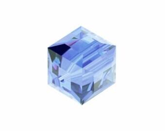 4mm Light Sapphire Cube Swarovski Crystals Elements Bead