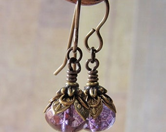 Amethyst Earrings Vintaj Brass Ear Wire Lumi Finish