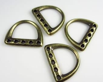 20 Brass Oxide TierraCast 5-Hole D Ring Links