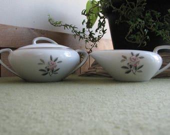 Noritake Rosales Cream and Sugar Bowl Set Vintage Dinnerware and Replacements 1956-1971
