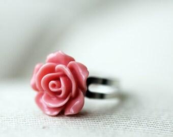 Pink Rose Flower Adjustable Ring