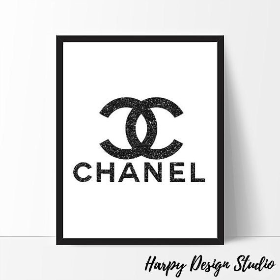 Chanel Book Cover Printable : Chanel logo mode coco print schwarz glitter