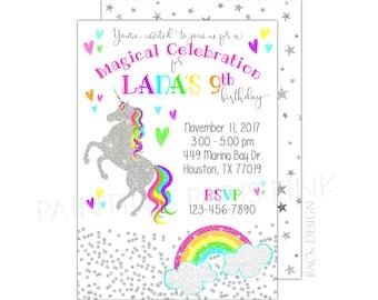 Einhorn-Glitzer Geburtstag Party Einladung | Druckbare oder professionell gedruckte | 5 x 7