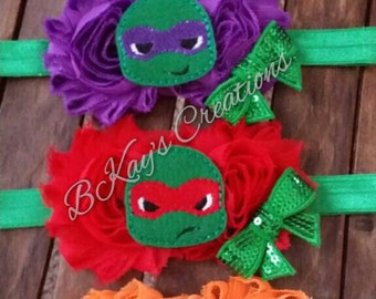 Teenage Mutant Ninja Turtle Chiffon Flower Headband, Shabby Flower, Donatello, Raphael, Michelangelo, Leonardo