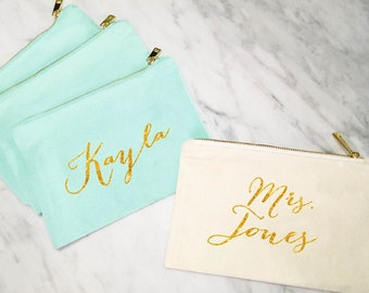 Bridesmaid Makeup Bag, Personalized Mrs Makeup Bag, Bridesmaid Gift, Personalized Pouch, Mint and Gold Canvas Bag, MANY COLORS