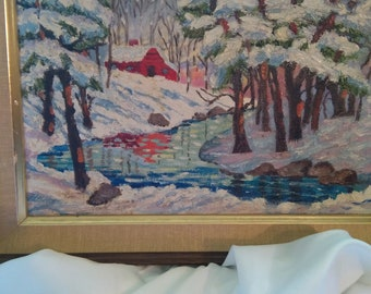 ON SALE: Vintage Snow Scene Painting Painting (winter in the high country)