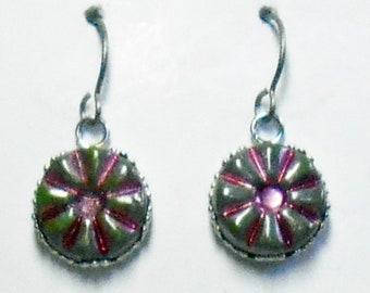 Czech Glass  Earrings Titanium Hypoallergenic Rose Pink