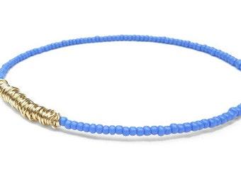 Beaded Bracelet // Eco-Friendly Jewelry // Periwinkle Purple Gold Bracelet // Seed Bead Bracelet // Bridesmaid Gift // Friendship Bracelet