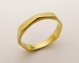 Modern Wedding Ring, Stacking Ring, Geometric Gold ring, Wedding Band for Men and Women, Unique 14k / 18k Solid Gold Thin Octagon Ring