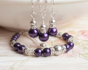 Silver Gray Purple Pearl Bridesmaid Gift Jewelry set Bracelet Necklace Earring Bridesmaid Gift Ideas Wedding Jewelry Gift Bridesmaid Jewelry