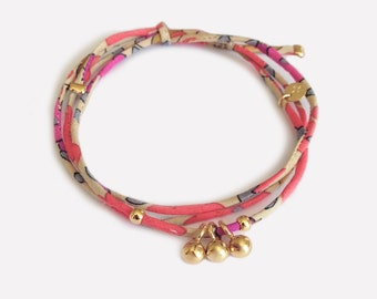 Liberty bracelet with Gold Plated Balls Charms • Bracelet Breloques Plaqué Or