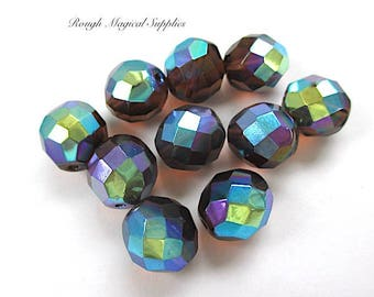 Smoky Topaz Beads, 12mm Beads, Czech Glass Fire Polished Faceted Rounds, Iridescent Rainbow Colors AB Aurora Borealis Finish 10 Pieces SP461