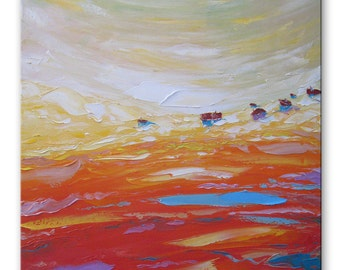 Golden valley - Impasto painting Bright artwork Intuitive art Expressive art Square artwork Pastoral painting Impressionistic Relax painting