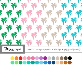 Palm Tree Digital Paper, 12x12 Scrapbook, Palm Overlay, 30 Colors, Instant Download PNG