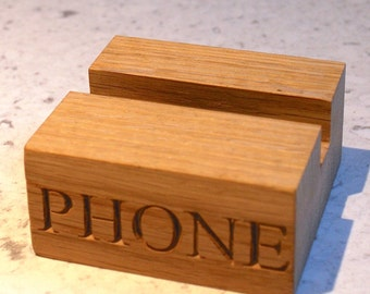 Phone Holder - solid oak, charging cable routing