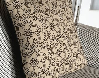 Block printed large linen pillow