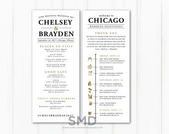 wedding timeline itinerary, modern, guest timeline, out of town guest kit, wedding event, infographic wedding timeline, PRINTABLE or PRINTED