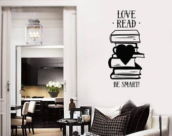 Books Quote Vinyl Wall Decal Smart Phrase Library Reading Room Stickers Mural (#2622di)