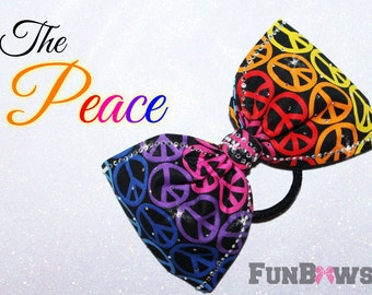 The Peace - Limited Edition....Boutique cheer bow - wishing everyone peace and love - by FunBows