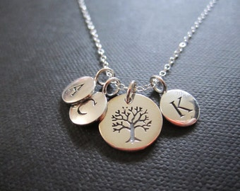 Family tree necklace mother necklace,kid initial necklace,Gift for mother,personalized mother necklace, tree of life