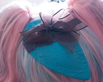 Shot Silk Dupion Fascinator with Chiffon Bow an Lace Trim