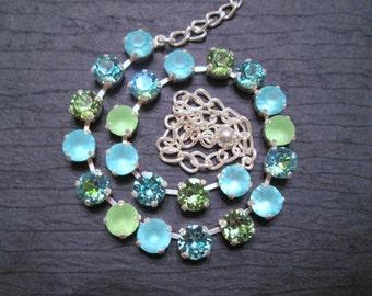 Swarovski Tennis Necklace/Swarovski Crystal Necklace/ Statement Necklace/ Pink Tennis Necklace/Green Tennis Necklace/ Beach Wedding/Preppy