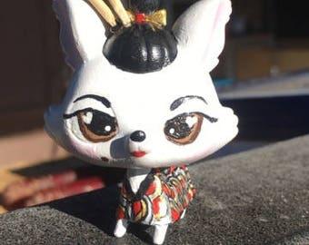 Geisha Yorkie littlest pet shop custom OOAK