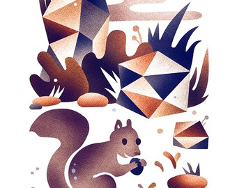 Squirrel habitat print - 8x10 modern squirrel print
