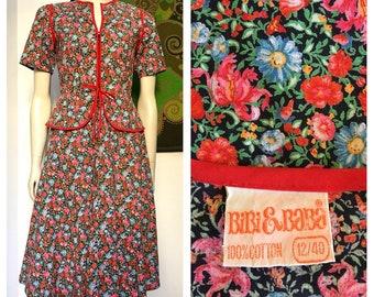 70's vintage BIBI & BABA floral cotton dress S-M