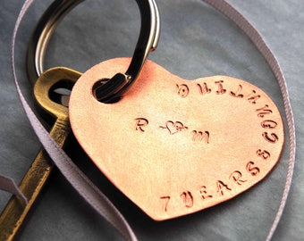 7 Anniversary Copper Heart Keychain personalised wife seventh luxury finish gift wrapped