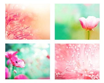 floral photography print set botanical photography 8x10 8x12 fine art photography nature pink pastel flower photography bedroom decor