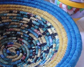 Blue, Gold and Black Coiled Fabric Basket - Handmade by Me, Catchall, Housewarming Gift