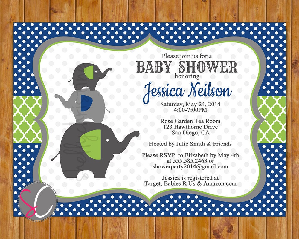 Navy Blue Lime Green Elephant Family Baby Shower Invitation