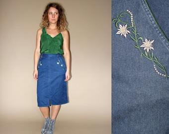 80's vintage women's denim high waist embroidered pencil midi skirt