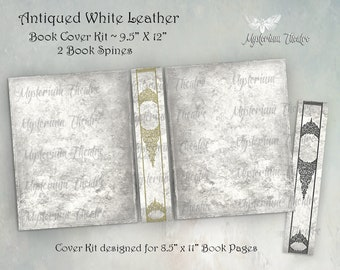 Digital Book Cover Printable Kit Distressed White Leather