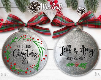 Genesis sepulveda on etsy our first christmas ornament personalized married wedding gift for couple wedding ornament junglespirit Images