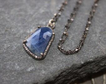 Blue Sapphire Medium Pendant,  Diamonds Framed pendant, luxurious, Precious Sapphire, Sapphire slice