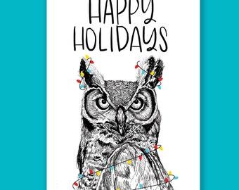 Happy Holidays Owl Holiday Card