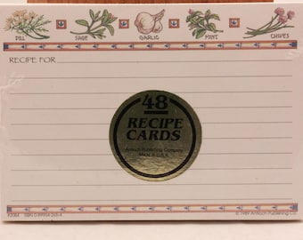 "NEW!!!! 48 Vintage  ""Herbs""  Recipe Cards. Sealed"