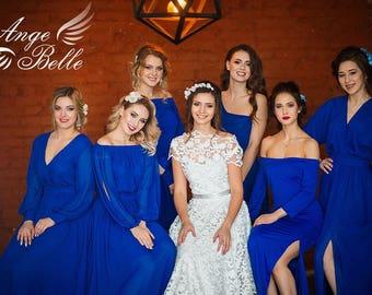 Royal blue dress, long blue cobalt wrap dress, convertible dress, infinity long sleeve dress, blue prom dress, snorkel blue bridesmaid dress